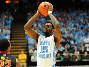 P.J. Hairston (15) looks to pass during the North Carolina Tar Heels vs. Maryland Terrapins NCAA basketball game, Saturday, January 19, 2013 in Chapel Hill, NC.