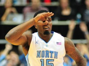 P.J. Hairston (15) reacts to a made shot during the North Carolina Tar Heels vs. Georgia Tech Yellow Jackets NCAA basketball game, Wednesday, January 23, 2013 in Chapel Hill, NC.