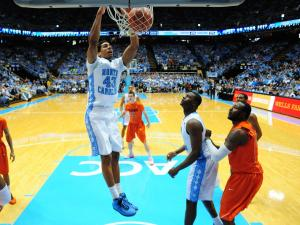 James Michael McAdoo throws down a dunk during the North Carolina Tar Heels vs. Virginia Tech Hokies NCAA basketball game, Saturday, February 2, 2013 in Chapel Hill, NC.