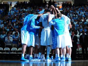 UNC huddles up before the North Carolina Tar Heels vs. Virginia Tech Hokies NCAA basketball game, Saturday, February 2, 2013 in Chapel Hill, NC.