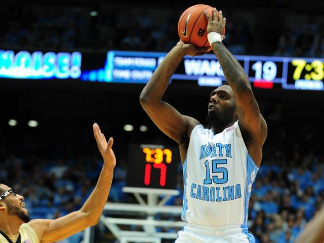 P.J. Hairston (15) takes a shot during the North Carolina Tar Heels vs. Wake Forest Demon Deacons NCAA basketball game, Wednesday, January 23, 2013 in Chapel Hill, NC. <br/>Photographer: Will Bratton