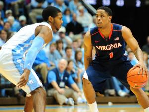 Jontel Evans (1) dribbles past a defender during the North Carolina Tar Heels vs. Virginia Cavaliers NCAA basketball game, Saturday, February 16, 2013 in Chapel Hill, NC.