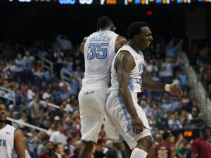 North Carolina's PJ Hairston (right) and Reggie Bullock during the Tar Heels' game against Florida State in the 60th ACC Tournament on Friday, March 15, 2013 in Greensboro, NC (Photo by Jack Morton).