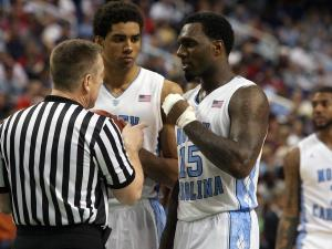 North Carolina's James Michael McAdoo (middle) and PJ Hairston (right) during the Tar Heels' 79-76 victory over Maryland in the 60th ACC Tournament on Saturday, March 16, 2013 in Greensboro, NC (Photo by Jack Morton).