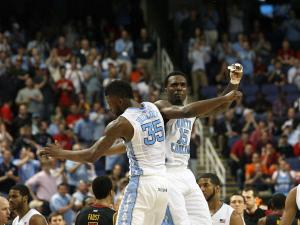 North Carolina's PJ Hairston (right) and Reggie Bullock during the Tar Heels' 79-76 victory over Maryland in the 60th ACC Tournament on Saturday, March 16, 2013 in Greensboro, NC (Photo by Jack Morton).