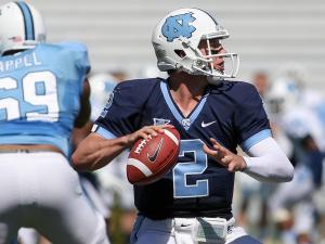 North Carolina Tar Heels quarterback Bryn Renner (2) drops back to pass during the UNC Annual Spring Football game on Saturday, April 13, at Kenan Stadium in Chapel Hill North Carolina.