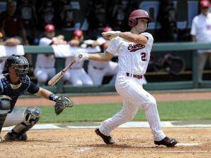 South Carolina's Max Schrock hits a double in the second inning of an NCAA college baseball tournament super regional game against North Carolina on Sunday, June 9, 2013, in Chapel Hill, NC. (AP Photo/Liz Condo)