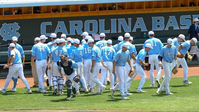 UNC gets ready to take the field. UNC defeats South Carolina 5-4 to advance to the College World Series Boshamer Stadium, Chapel Hill, NC, June 11,2013 (Photo by Jack Tarr)