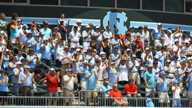 Carolina fans cheer on the Tar Heels. UNC defeats South Carolina 5-4 to advance to the College World Series Boshamer Stadium, Chapel Hill, NC, June 11,2013 (Photo by Jack Tarr)