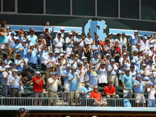 Carolina fans cheer on the Tar Heels. UNC defeats South Carolina 5-4 to advance to the College World Series Boshamer Stadium, Chapel Hill, NC, June 11,2013 (Photo by Jack Tarr)