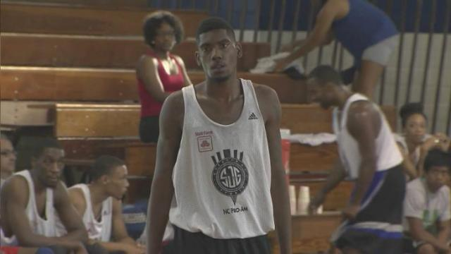 Miykael Faulcon, a basketball player at Elizabeth City State.