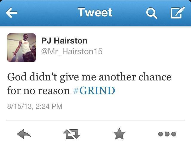 """PJ Hairston """"GRIND"""" tweet"""
