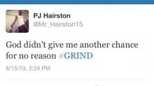 "PJ Hairston ""GRIND"" tweet"