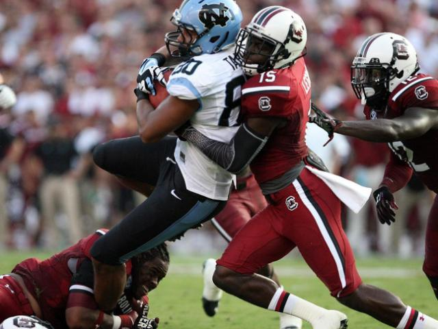 North Carolina's Jack Tabb during the Tar Heels' 27-10 loss to the South Carolina Gamecocks on Thursday, August 29, 2013 in Columbia, SC (Photo by Jack Morton).