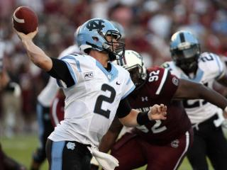 North Carolina's Bryn Renner during the Tar Heels' 27-10 loss to the South Carolina Gamecocks on Thursday, August 29, 2013 in Columbia, SC (Photo by Jack Morton).
