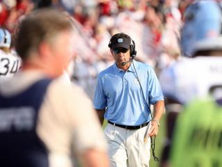 North Carolina coach Larry Fedora during the Tar Heels' clash with the South Carolina Gamecocks on Thursday, August 29, 2013 in Columbia, SC (Photo by Jack Morton).