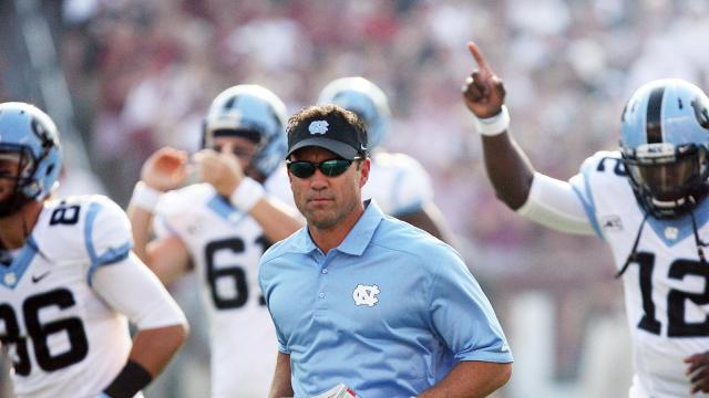 North Carolina coach Larry Fedora prior to the Tar Heels' clash with the South Carolina Gamecocks on Thursday, August 29, 2013 in Columbia, SC (Photo by Jack Morton).