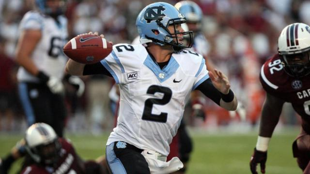 North Carolina's Bryn Renner during the Tar Heels' clash with the South Carolina Gamecocks on Thursday, August 29, 2013 in Columbia, SC (Photo by Jack Morton).