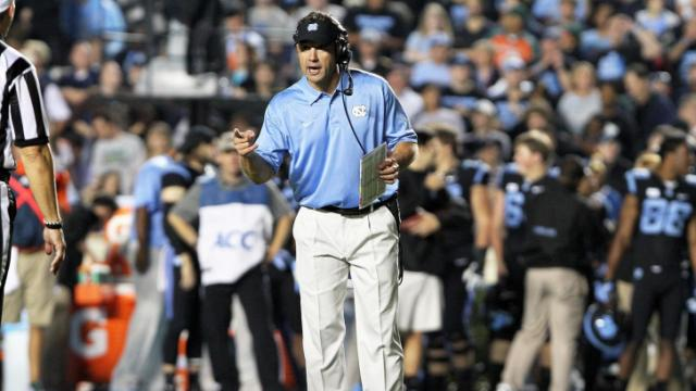 North Carolina coach Larry Fedora during the Tar Heels' 27-23 loss to Miami on Thursday, October 17, 2013 in Chapel Hill, NC (Photo by Jack Morton).