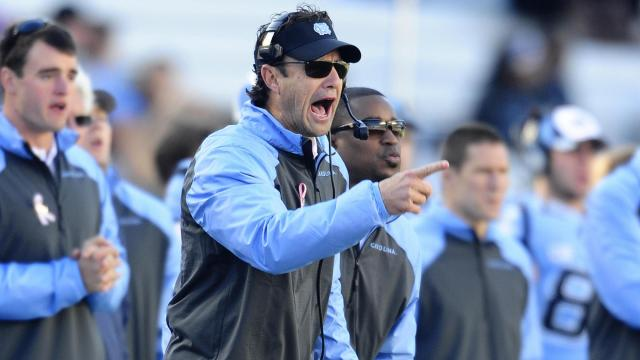 UNC head coach Larry Fedora during play at Kenan Stadium between the University of North Carolina Tar Heels and the Boston College Eagles on October 26, 2013 in Chapel Hill, NC.