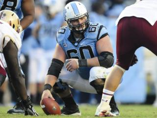 UNC center Russell Bodine during play at Kenan Stadium between the University of North Carolina Tar Heels and the Boston College Eagles on October 26, 2013 in Chapel Hill, NC.