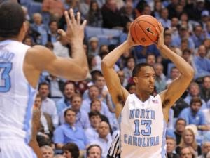J.P. Tokoto (13) looks to pass during action at the Dean E. Smith Center between the North Carolina Tar Heels and the Miami Hurricanes on January 8, 2014 in Chapel Hill, NC. Miami won the contest over UNC 63-57. (Will Bratton/WRAL contributor)
