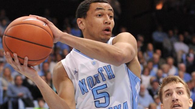 Marcus Paige (5) looks to make a pass during action at the Dean E. Smith Center between the North Carolina Tar Heels and the Boston College Eagles on January 18, 2014 in Chapel Hill, NC. UNC won the contest over Boston College 82-71. (Will Bratton/WRAL contributor)