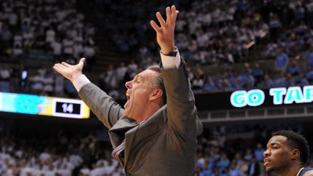 Pitt head coach Jamie Dixon reacts to a call during action at the Dean E. Smith Center between the North Carolina Tar Heels and the Pitt Panthers on February 15, 2014 in Chapel Hill, NC. (Will Bratton/WRAL contributor)