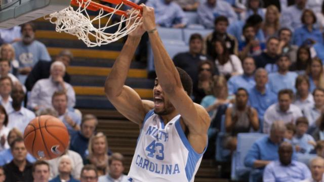 James Michael McAdoo (43) dunks during action at the Dean E. Smith Center between the North Carolina Tar Heels and the Wake Forest Demon Deacons on February 22, 2014 in Chapel Hill, NC. (Will Bratton/WRAL contributor)