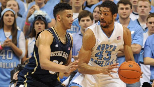 James Michael McAdoo (43) backs down a defender during action at the Dean E. Smith Center between the North Carolina Tar Heels and the Notre Dame Fighting Irish on March 3, 2014 in Chapel Hill, NC. (Will Bratton/WRAL contributor)