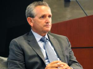 North Carolina athletics director Bubba Cunningham at a Fan Town Hall hosted by 99.9 The Fan ESPN Radio Thursday.