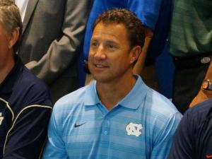 North Carolina head coach Larry Fedora on the second day of the ACC Kickoff in Greensboro, Monday, July 21, 2014.