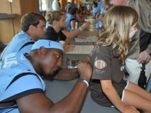 The annual Meet The Heels day was held at Kenan Stadium Saturday and even the rain couldn't keep the fans away as the event was moved inside.