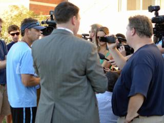 UNC head football coach Larry Fedora speaks to the media on Wednesday, Aug. 28, 2014, about the suspension of four players prior to his team's season opener against Liberty.