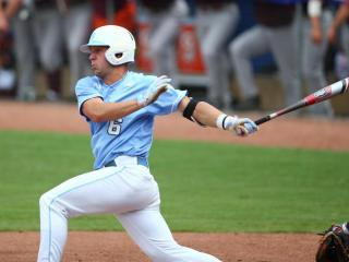 Alex Raburn (6) batting for North Carolina. Virginia Tech faces North Carolina in the first round of the ACC Championship game in Durham N.C. on May 19, 2015. North Carolina goes down early but comes back to defeat Virginia Tech 5 to 3. (Chris Baird / WRAL Contributor).