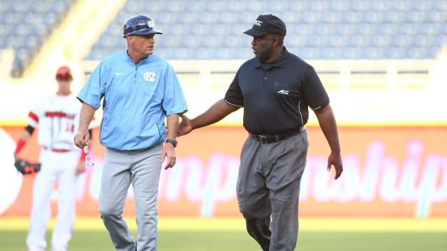 Coach Mike Fox questioning the call. Day two of the ACC Baseball Championship from Durham N.C. on Wednesday May 20, 2015 featured North Carolina and Louisville. After an early lead North Carolina could not keep pace with Louisville falling to them by a score of 7 to 4. (Chris Baird / WRAL Contributor).