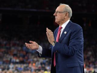 Head coach Jim Boeheim of the Syracuse Orange reacts against the North Carolina Tar Heels during the 2016 NCAA Men's Final Four Semifinal at NRG Stadium on April 02, 2016 in Houston, Texas. (Lance King/WRAL contributor)