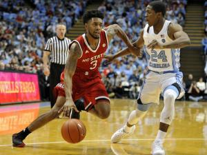 Terry Henderson (3) drives to the baseket during NCAA basketball action at the Dean E. Smith Center between the North Carolina Tar Heels and the NC State Wolfpack on January 8, 2017 in Chapel Hill, NC. (Will Bratton/WRAL contributor)