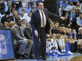 Duke head coach Mike Krzyzewski during NCAA basketball action at the Dean E. Smith Center between the North Carolina Tar Heels and the Duke Blue Devils on March 4, 2017 in Chapel Hill, NC. (Will Bratton/WRAL contributor)