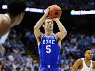 Luke Kennard (5) takes a shot during NCAA basketball action at the Dean E. Smith Center between the North Carolina Tar Heels and the Duke Blue Devils on March 4, 2017 in Chapel Hill, NC. (Will Bratton/WRAL contributor)