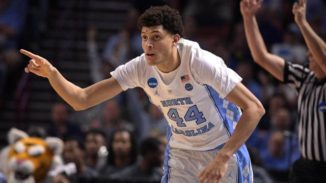Justin Jackson (44) of the North Carolina Tar Heels reacts following a basket against the Texas Southern Tigers during the first round of the 2017 NCAA Men's Basketball Tournament at Bon Secours Wellness Arena on March 17, 2017 in Greenville, South Carolina. (Lance King/WRAL contributor)