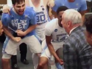 UNC celebrates in locker room after advancing to Final Four
