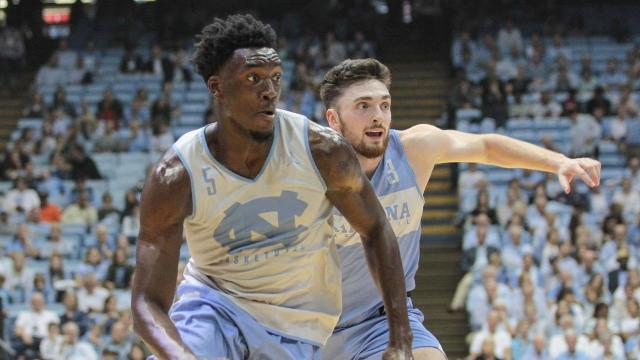 a28ee6b5c161 Nassir Little (5) of the North Carolina Tar Heels. Late Night with Roy
