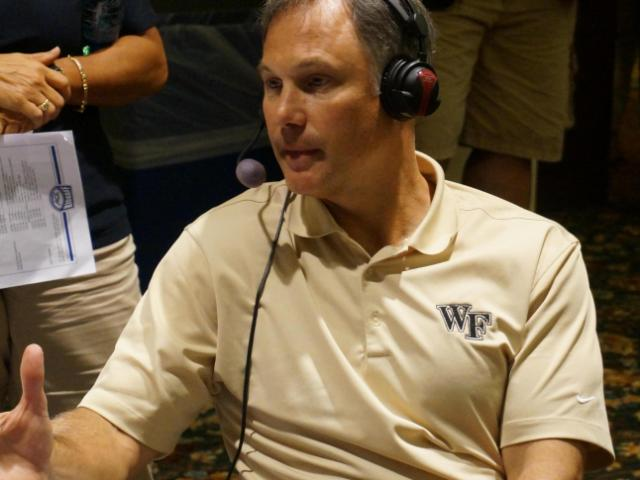 Wake Forest head coach Dave Clawson at the ACC Kickoff on Monday.<br/>Photographer: Erin Summers