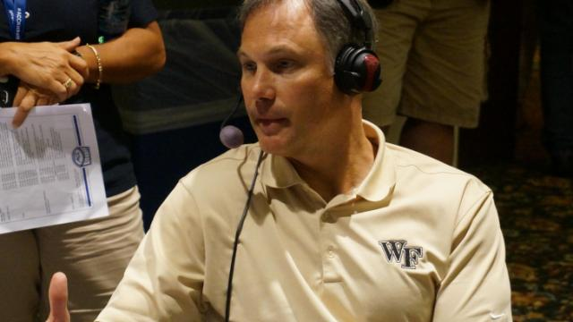 Wake Forest head coach Dave Clawson at the ACC Kickoff on Monday.