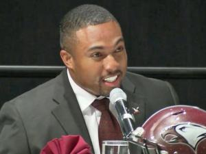 NC Central football coach Jerry Mack participates at the 2014 Pigskin Preview.