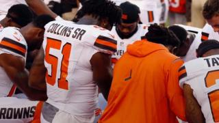 Browns players kneel, pray during national anthem