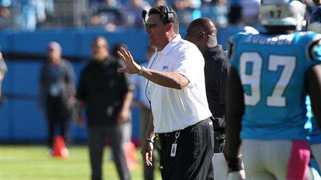 Coach Ron Rivera on the sidelines. St. Louis Rams visiting the Carolina Panthers on Sunday October 20, 2013. Rams first play from scrimmage was intercepted and returned for a TD and the Panthers never looked back with a hime victory of 30-15. Photo by CHRIS BAIRD