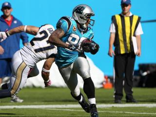 Carolina Panthers wide receiver Steve Smith (89) pulls in his 800th career reception. St. Louis Rams visiting the Carolina Panthers on Sunday October 20, 2013. Rams first play from scrimmage was intercepted and returned for a TD and the Panthers never looked back with a hime victory of 30-15. Photo by CHRIS BAIRD