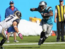 In a chippy contest in Charlotte Sunday, the Carolina Panthers forced three turnovers and defeated the St. Louis Rams, 30-15, to improve to 3-3 on the year.